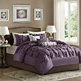 Purple Bed in a Bag King Madison Park Laurel King Size Bed Comforter Set Bed In A Bag - Purple, Wrinkle Tufted Pleated – 7 Pieces Bedding Sets – Faux Silk Bedroom Comforters