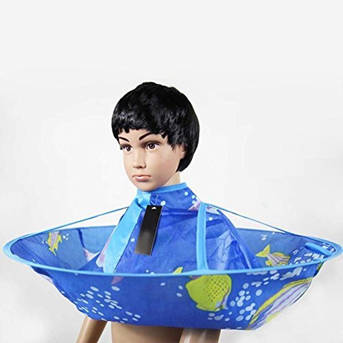 Whitelotous Salon Kids Haircut Hairdresser Hair Cutting Cape Blue Cloak