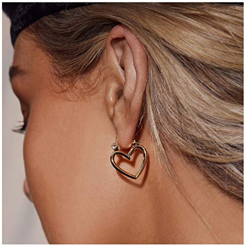 Gold Heart Earrings 18K Gold Plated Heart Hoop Earrings Valentine Mother's Day Birthday Gifts for Women ()