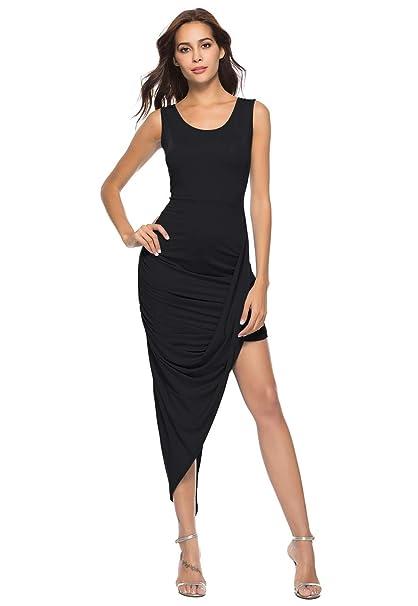e5a108eed0ab5 OMZIN Womens Plain Sleeveless Bodycon Long Maxi Dress Long Dress for Summer  Beach Holiday