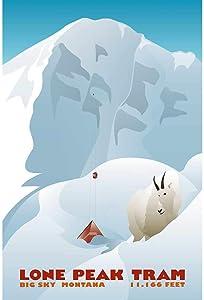 Lone Peak Tram Montana Vintage Ski Poster, 16 x 24 inches