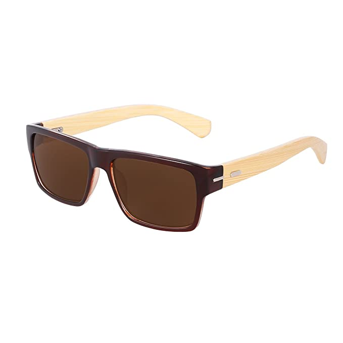 8e2dfca40b74 WISH CLUB Wood Square Handmade Sunglasses UV 400 Lenses Classical Style for  Women and Men Adults