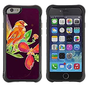 Hybrid Anti-Shock Defend Case for Apple iPhone 6 4.7 Inch / Beautiful Abstract Bird & Floral Purple