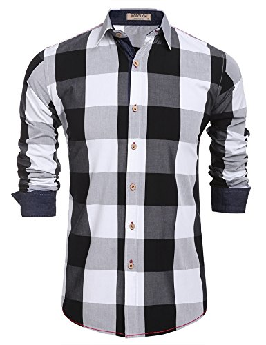 HOTOUCH Men's Long Sleeve Dress Shirts Black White L - Black And White Shirts For Men