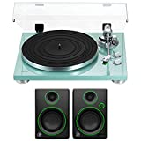 Teac 2-Speed Analog Turntable Turquoise (14-TN-300-TB) with 3'' Creative Reference Multimedia Monitors - Pair