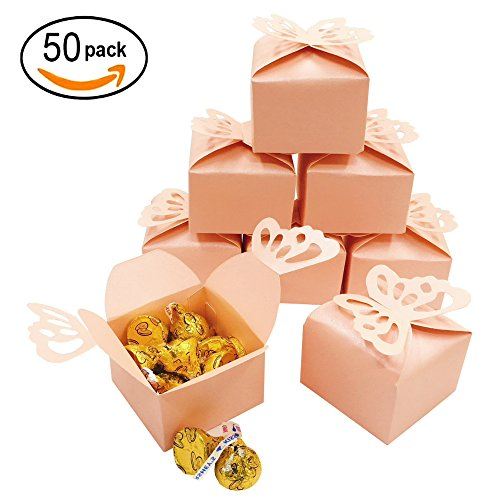 Pink Cube Candy Treat Boxes Set Butterfly Thank You Box Bulk Wedding Party Favors Baby Shower Birthday Party Supplies 2x2x2 Inch, 50pc - Personalized Butterfly Garden