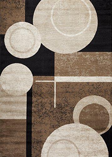Modern Elegance Brown Floral Rug (Rugshop Circles Wowen Area Rug 3'3