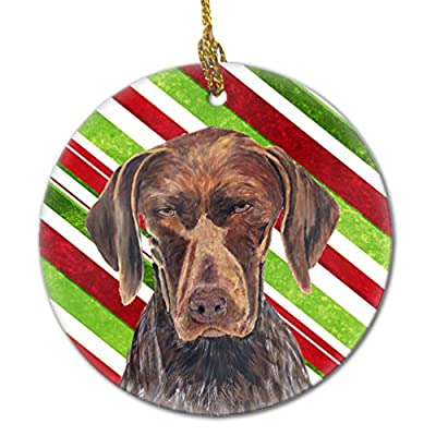 Carolines-Treasures-SC9355-CO1-German-Shorthaired-Pointer-Candy-Cane-Holiday-Christmas-Ceramic-Ornament-Multicolor