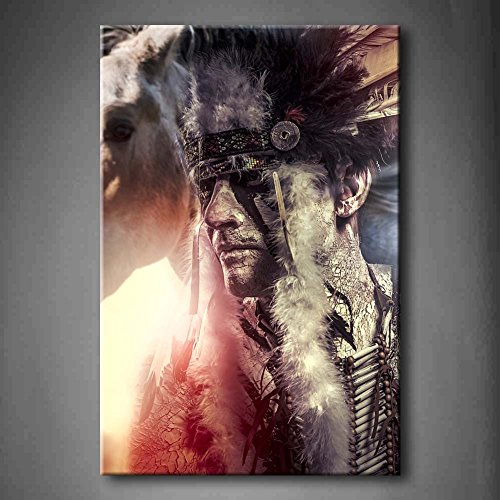 First Wall Art - American Indian Warrior Man With Feather He