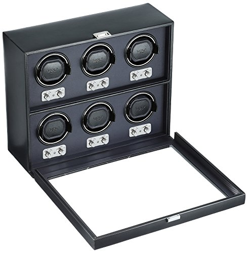 WOLF 270702 Heritage 6 Piece Watch Winder with Cover, Black by WOLF (Image #1)