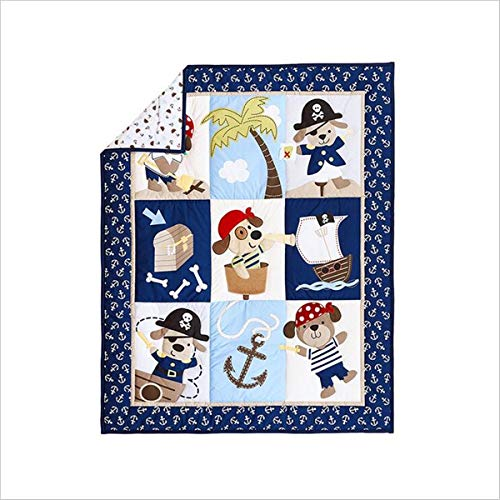WINLIFE Crib Bedding Set for Girls & Boys Crib Quilts 33''x42'' Baby Quit (Pirate)