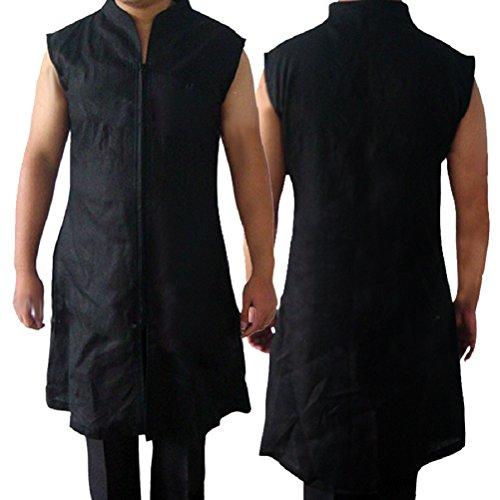 Allten Men's Cosplay Costume Black Linen Cotton Halloween Uniform Tunic Robe XXL by Allten (Image #2)