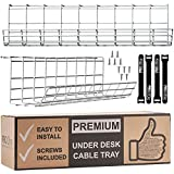 Under Desk Cable Management Tray with Straps - Cable Organizer for Wire Management for Light and White Desks (White 2 Pack)