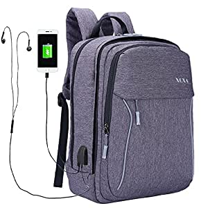 XQXA Slim Laptop Backpack, Business Computer Bag with Headphone Port, Removable Front Layer Travel Bag with USB Charging Hole for College Students, Fits up to 15.6 inch Laptop / Notebook in Grey
