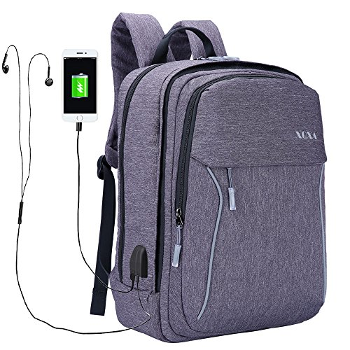XQXA Slim Laptop Backpack, Business Computer Bag with Headphone Port, Removable Front Layer Travel Bag with USB Charging Hole for College Students, Fits up to 17.3 inch Laptop / Notebook in Grey