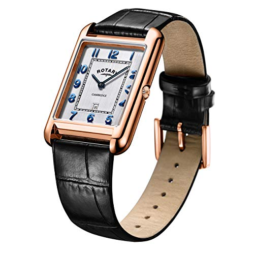 Rotary Men's Watch 42mm Rectangle Dial Rose Gold Stainless Steel Case GS05284/70