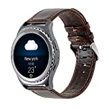 Gear S2 Classic Leather Band, Vintage Series Gear S2 Classic Band Genuine Leather Strap Replacement Band with Classic Stainless Steel Buckle for Samsung Gear S2 Classic Smart Watch SM-R732 - Coffee