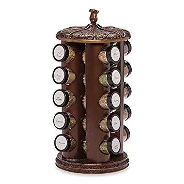 Classic Bronze Polyresin 20 Pre-Filled Jar Spice Rack (Imported)