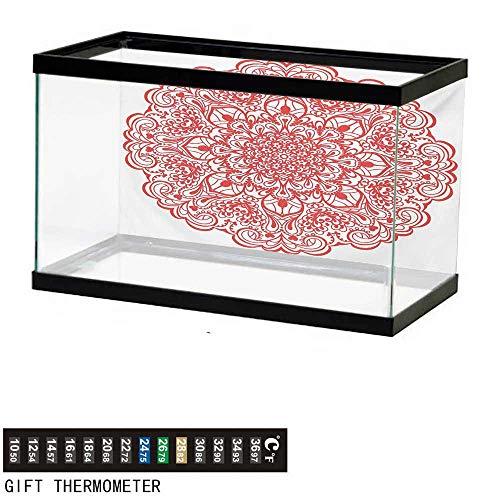 wwwhsl Aquarium Background,Red Mandala,Arabesque Lace Inspired Motifs Flourishing Nature Theme Ornate Curves and Swirls,Orange Fish Tank Backdrop 30