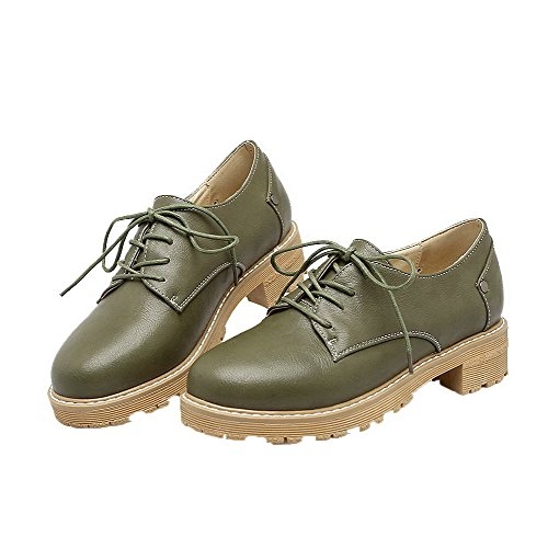 Odomolor Women's Pu Low-Heels Closed-Toe Solid Lace-up Pumps-Shoes Army Green EQHrS8