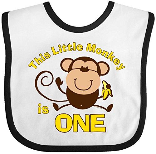1st Monkey - Inktastic - Little Monkey 1st Birthday Boy Baby Bib White/Black