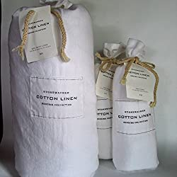 Restoration Hardware STONEWASHED COTTON LINEN Full/Queen Duvet Cover & Standard Shams~White~