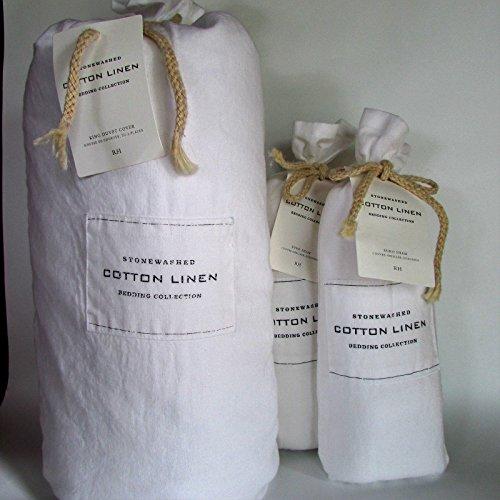 Restoration Hardware Stonewashed Cotton Linen Full/Queen Duvet Cover & Standard Shams~White~ (Duvet King Hardware Restoration)