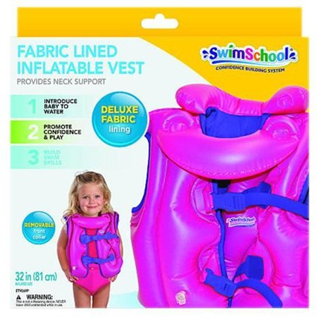 Swim School Fabric Lined Inflatable Vest keeps Head Above Wa