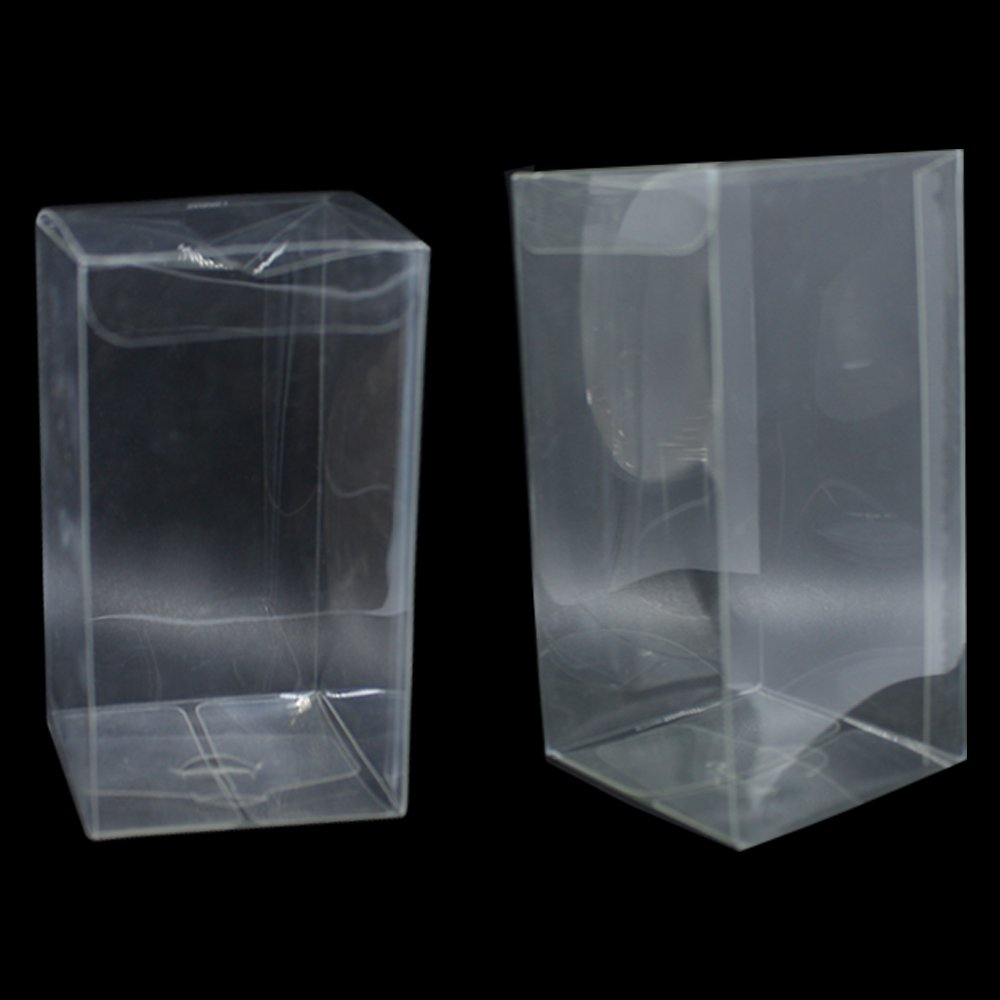 Clear Folding Toy Game Invite Party Favor Decorative Boxes PVC Material Transparent Stationery Office Supplies Wrapping Packaging Foldable Cake Wedding Bridal Home Accent Decor Box (100, 7x7x14 cm)