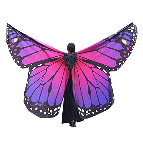 vermers Women Costume Egypt Belly Wings Dancing Costume Butterfly Wings Dance Accessories No Sticks(Hot Pink)