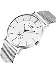 VAVC Womens Silver Fashion Casual Simple Analog Quartz Dress waterproof Wrist Watch with Stainless Steel Mesh...