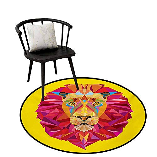 Modern Rugs Zoo,Colorful African Animals Geometric Diamond Face Lions Mane Safari Wildlife Theme Image,Living Room Bedroom Office Soft Carpet Floor Mat 20