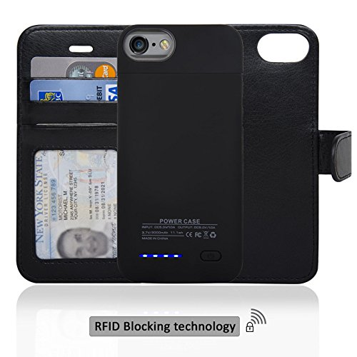 Navor Folio Wallet Magnetic Detachable vitality Battery situation 3000mAh for iPhone 7 / 6 [4.7 Inch] - Black