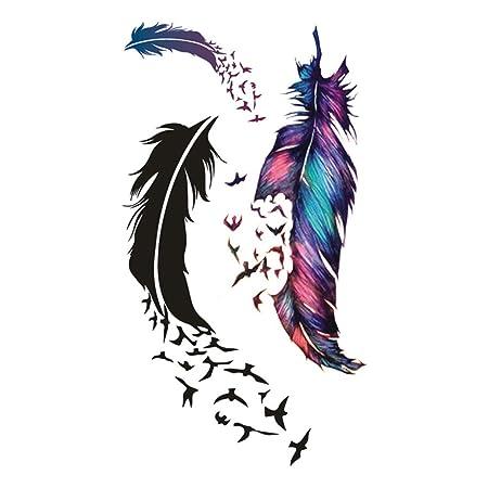 NAYUKY Volar Temporal Pluma del Arte del pájaro del Tatuaje del ...