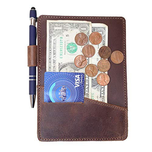 Direct Expresscard - Hide & Drink, Thick Leather Check Presenter with Card Slot/Restaurant & Cafe Accessories/Bill Holder/Waiter/Waitress, Handmade Includes 101 Year Warranty :: Bourbon Brown