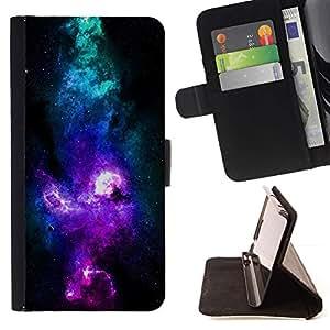 Momo Phone Case / Flip Funda de Cuero Case Cover - NEON AZUL PÚRPURA GALAXY - Samsung Galaxy Core Prime