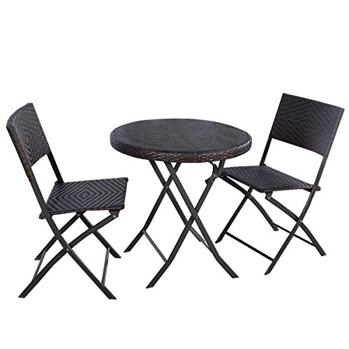 Giantex 3PC Folding Round Table & Chair Bistro Set Rattan Wicker (Large Image)