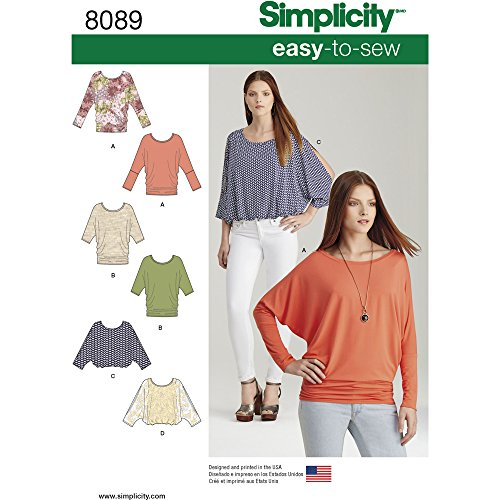 - Simplicity Creative Patterns Simplicity PATTERNS Misses' Easy-To-Sew Knit Tops Size: A (XXS-XS-S-M-L-XL-XXL), 8089