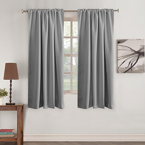 (Gray Blackout Curtains Window Treatments Tab Curtains Thermal Insulated Light Blocking Drapes Back Tab/Rod Pocket Short Curtain Panels for Bedroom & Kitchen 2 Panel, Dove Gray, 52 x 63)