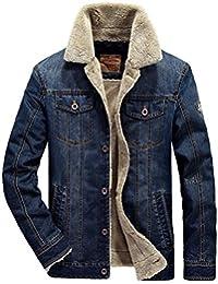 Men's gentleman winter warm wool lined jacket denim coat