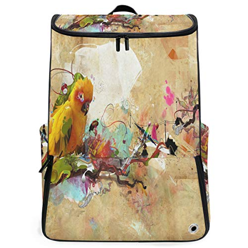 (Travel Backpack Abstract Cute Parrot School Backpack for Women Big Backpacking Back Pack)