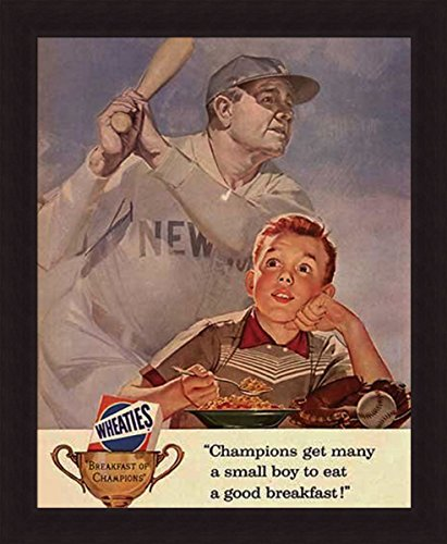 'BOY EATING CEREAL' Classic Wheaties Babe Ruth art FRAMED PRINT 20x24