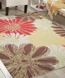 Nourison RS022 Home & Garden Green Multicolor Floral Indoor/Outdoor Area Rug (10' x 13')