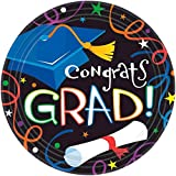 Amscan Cool Graduation Streamers & Confetti Round Plates Party Tableware, Paper, 9'' Diameter, Pack of 50 Party Supplies