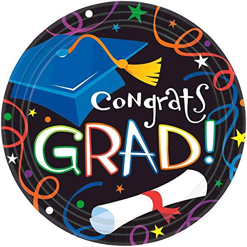 Amscan Cool Graduation Streamers & Confetti Round Plates Party Tableware, Paper, 9'' Diameter, Pack of 50 Party Supplies by Amscan