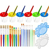 PAXCOO 28 Pcs No Spill Paint Cups set with Lids and Paint Brushes for Kids, toddlers and Children