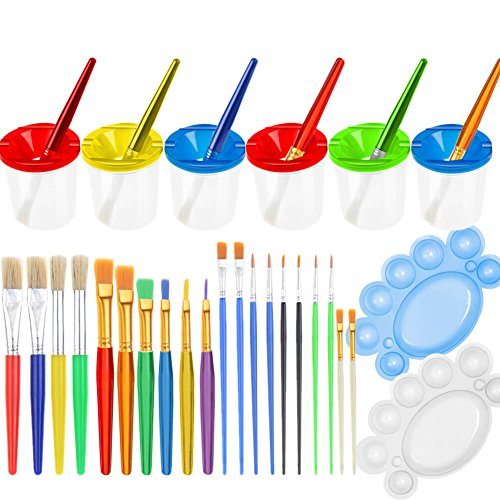 PAXCOO 28 Pcs No Spill Paint Cups Set with Lids and Paint Brushes for Kids, Toddlers and Children ()