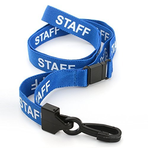 CKB Ltd 50X Blue Staff Lanyards Breakaway Safety Lanyard Neck Strap Swivel Metal Clip for Id Card Holder - Pull Quick Release Design for $<!--$45.00-->