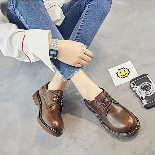 Classic Leather for Lace Women's Top JULY Brogue T Dress Waterproof up Shoes Shoes Brown Velvet Patent Low Oxfords Women S8PF4q