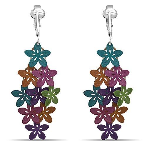 Beautiful Dangle Clip On Earrings for Women, Girls, Bohemian Drop Butterfly, Dragonfly, Leaves, Flowers (Multi Colored Flowers)